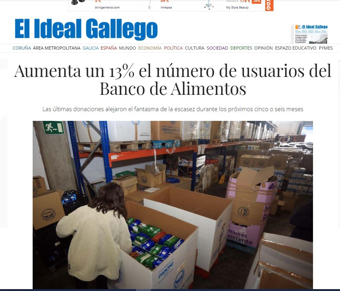 Aumenta un 13% el número de usuarios del Banco de Alimentos (El Ideal Gallego)